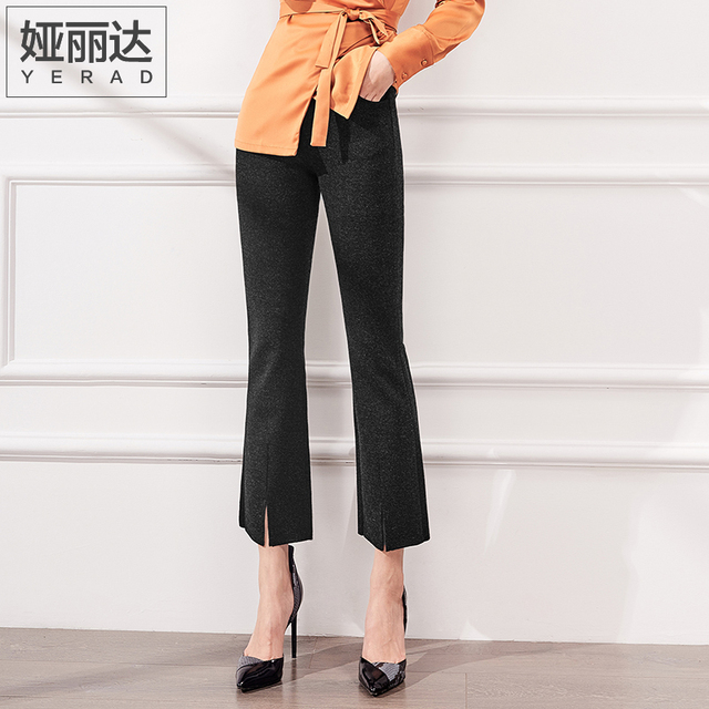 a024e99dfec YERAD 2018 Spring Fashion Flare Pants Mid Waist Split Hem Women Ankle  Length Bell Bottom Pants Office Lady Trousers