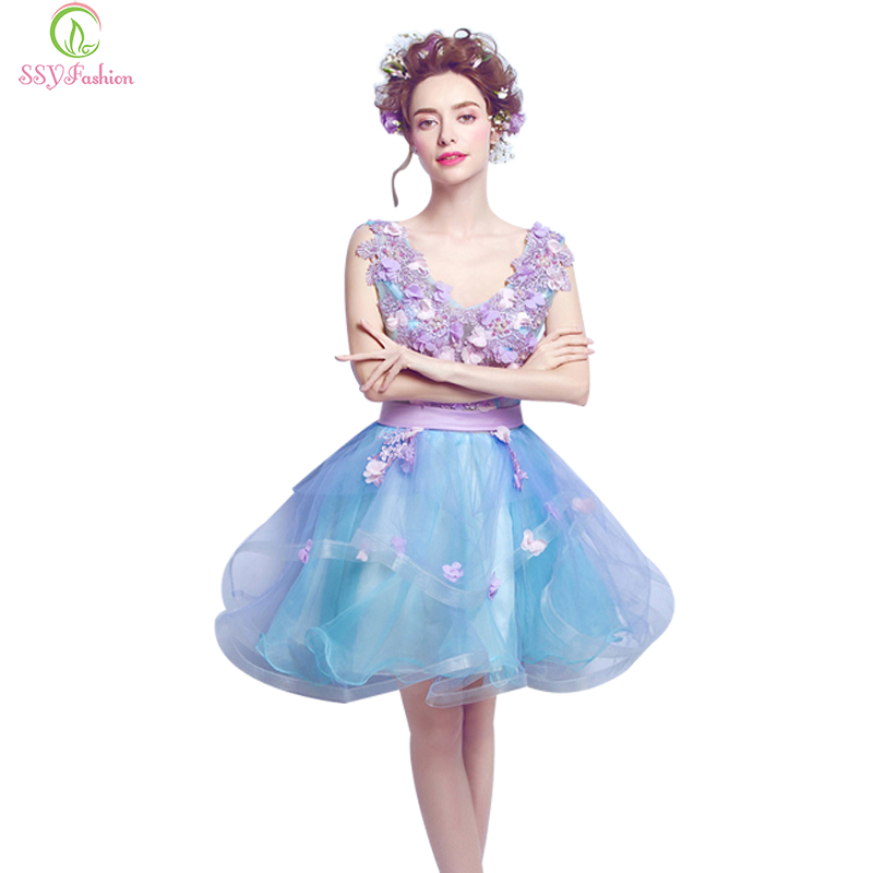 2017 SSYFashion Sweet Blue Flowers V Collar Short   Cocktail     Dress   The Bride Banquet Sexy Backless Mini Party Gown Formal   Dresses