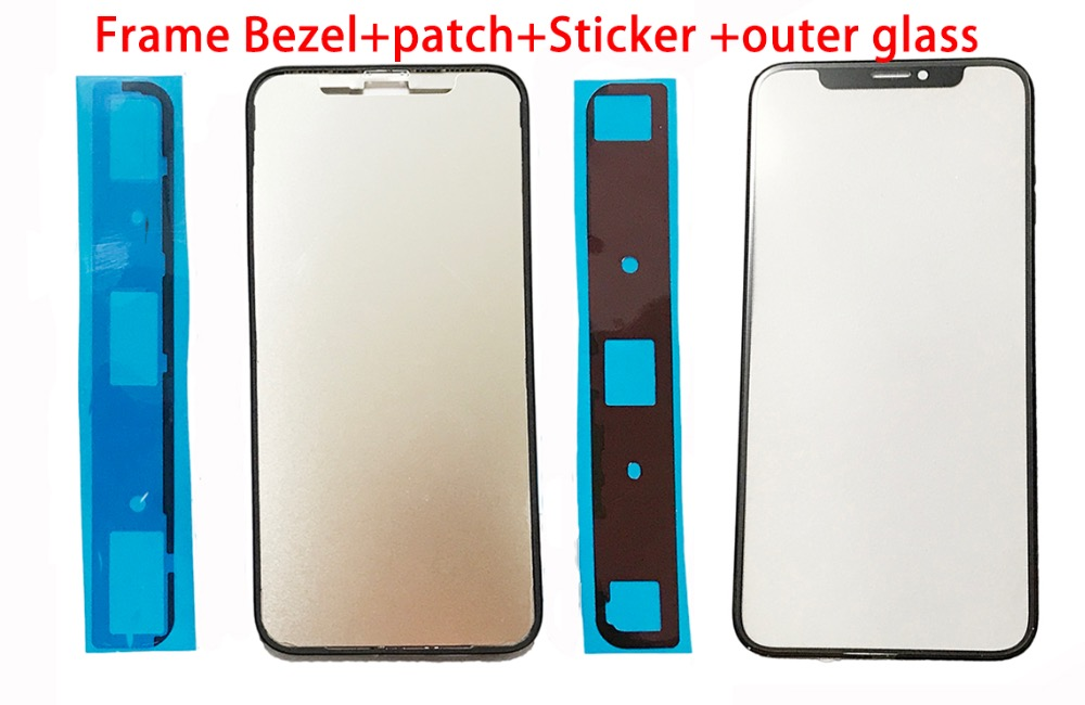 2set Front Outer Glass lens+Frame Bezel +patch with Sticker Kits for iPhone X Screen Touch Replacement Repair Parts