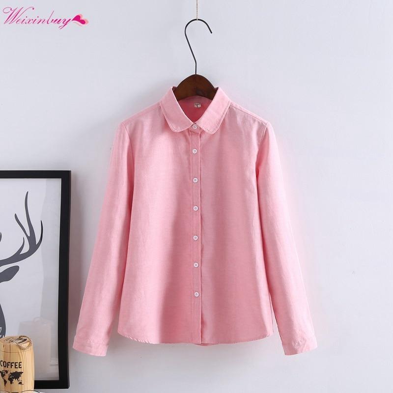 2019 Casual chemise korte ingots kraagblouse lente lange mouw katoen - Dameskleding