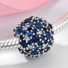 925 Sterling Silver Charm Blue Zircons Round Shape Diy Clips Beads Fit Original Pandora Charms Bracelet Fashion Jewelry Making(China)