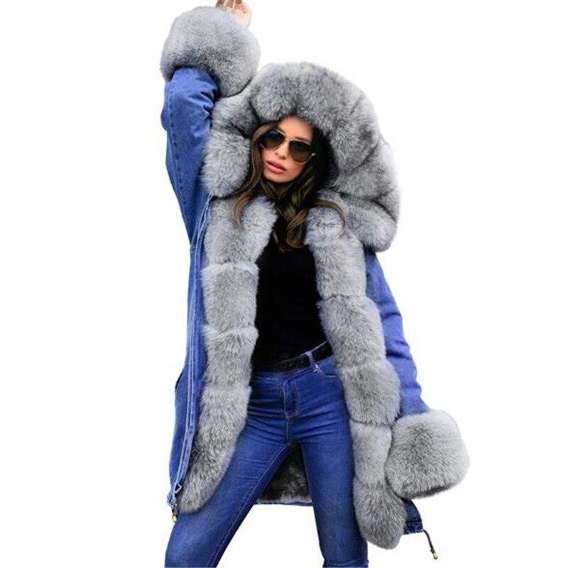Winter Denim Jacket women Hoodies Women's Warm   Parkas   Fur Hooded Coat