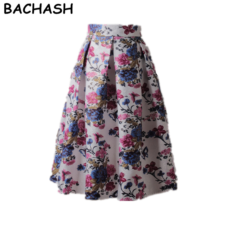 Detail Feedback Questions about BACHASH Knee Length Casual Skirt 2018  Autumn Spring Vintage Floral Printed Ball Gown Pleated Midi Women Skirt  Saias For ... b12392252bdd