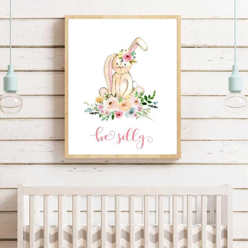 צבעי מים יער בעלי החיים עם פרחי אמנות הדפסי בד ציור ילדים בנות חדר קיר קישוט