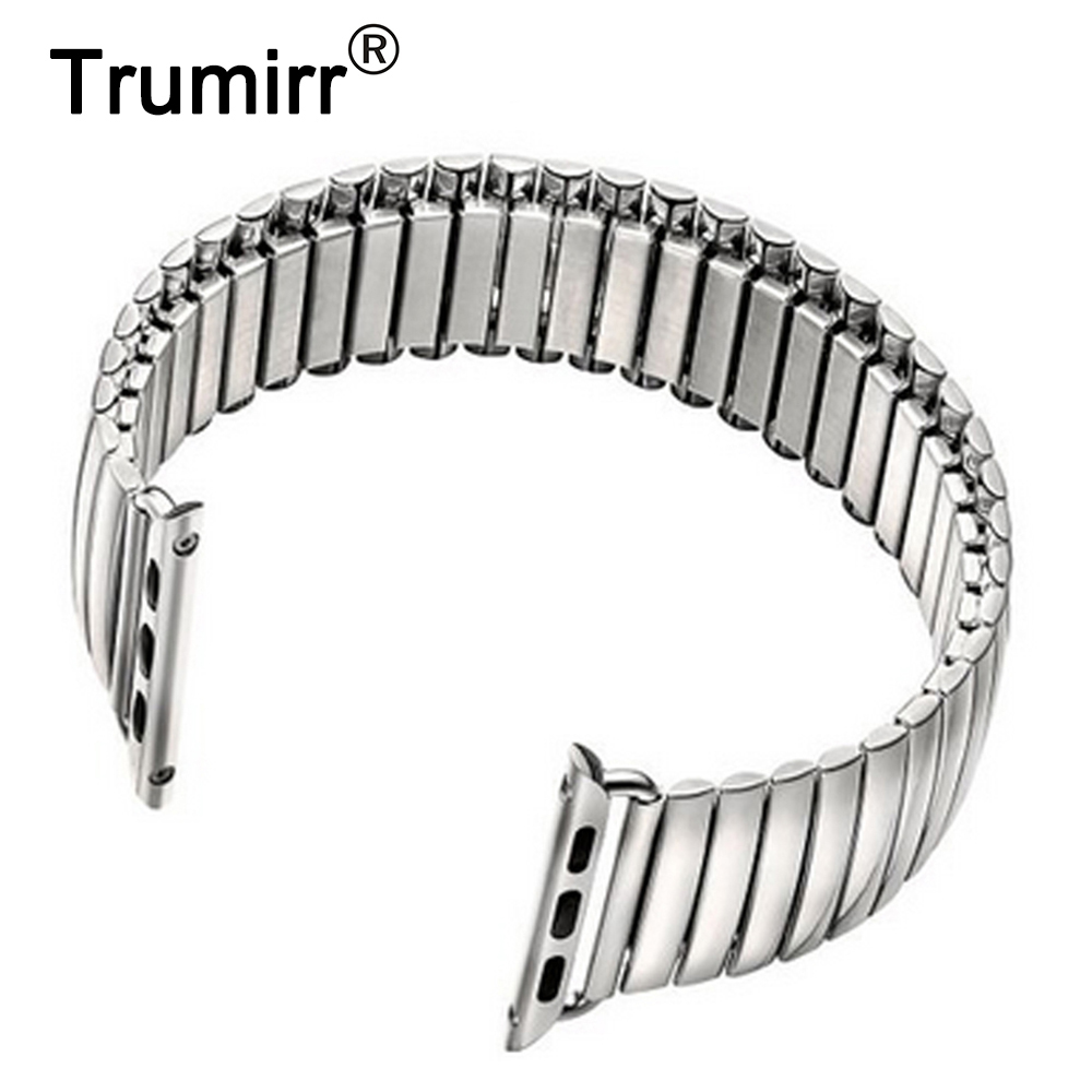 Stainless Steel Watchband Elastic Band Bracelet Strap with Link Adapter for iWatch Apple Watch Sport Edition 38mm 42mm Silver