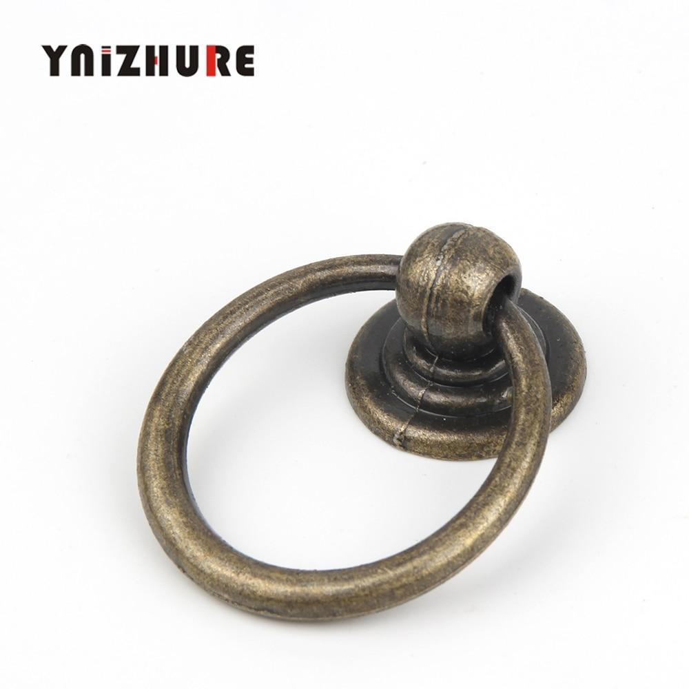 Furniture Drawer Door Retro Style Ring Pull Handles Bronze Tone 52x43x13mm 8pcs