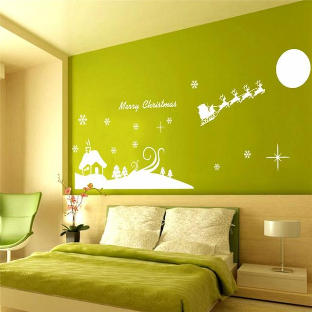 merry christmas reindeer sleigh quote wall stickers room decor 051 ...