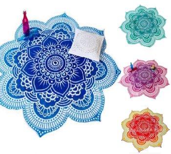 Lotus Flower Table Cloth Yoga Mat India Mandala Tapestry Beach Throw Mat Beach Mat Cover Up Round Beach Pool Home Blanket 1