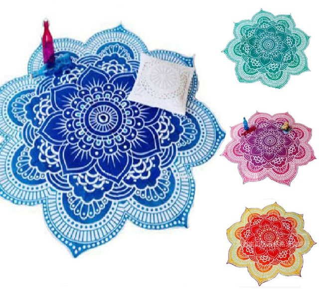Lotus Flower Table Cloth Yoga Mat India Mandala Tapestry Beach Throw Mat Beach Mat Cover Up Round Beach Pool Home Blanket