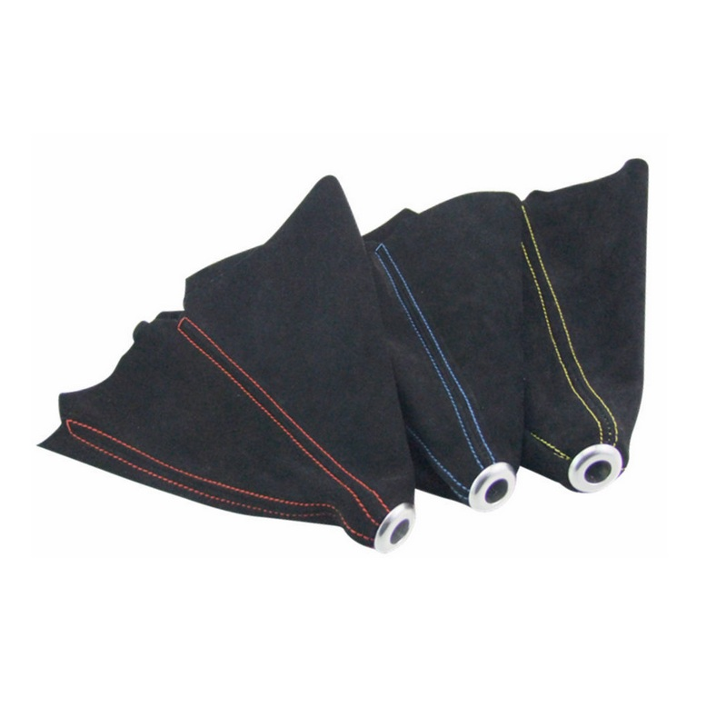LUNASBORE car styling-Universal JDM Black Suede Shift Boot For M/T Manual Shift Gear Cover Shifter Stitch Red Blue Yellow