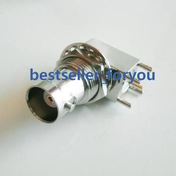 10X BNC Female Jack with Nut Bulkhead Right Angle PC Board PCB Mount RF Connector