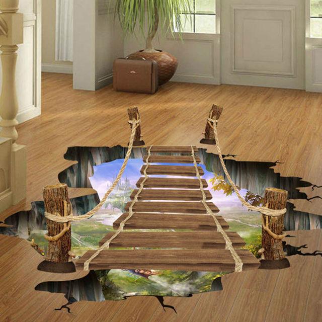 3d bridge floor wall decals stickers art home room vinyl for 3d flooring uk