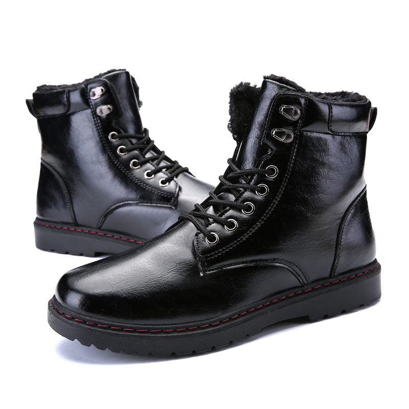2 Sapatos Borracha Quente Pele Botas Moda 1 Tornozelo Com Calçados black De 39 Trabalho Homens 2018 Inverno Neve 44 Dos No Black wS0q1zOzW
