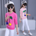 Kids girls spring / autumn T-shirt 2017 new baby girls' clothing fashion hair ball leaves big virgin shirt 4/5/6/7/8/9/10/11/12