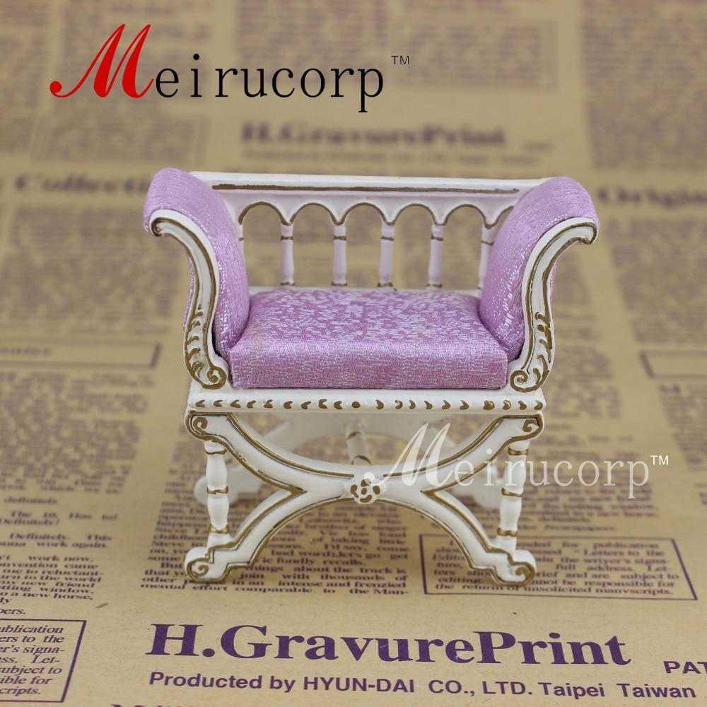 Mobília em miniatura da casa de bonecas em escala 1:12 fina Poltrona dourada clássica
