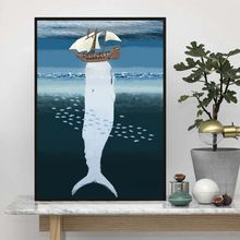 Скандинавский минималистичный стиль морской животные кит дельфин