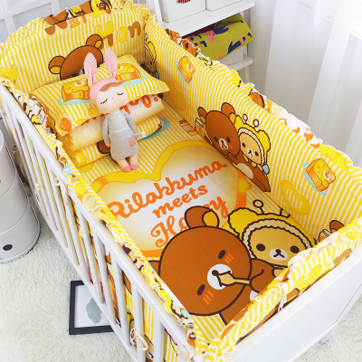 ФОТО 5 Pcs/sets Forest Kingdom baby bedding bumper breathable crib liner cotton curtain crib bumper baby cot sets baby bed protector