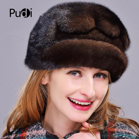 HM020 Winter hats for women  Real genuine mink  fur hat  women's winter hats whole piece mink fur hats 2