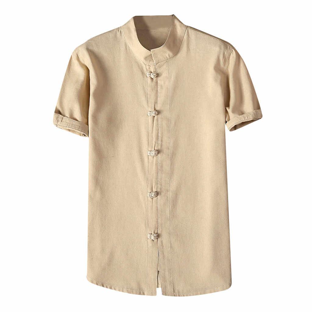 白シャツ男性夏のファッションコットンリネン Camisas 固体カジュアルスタンド襟半袖シャツボタンプラスサイズ 4XL