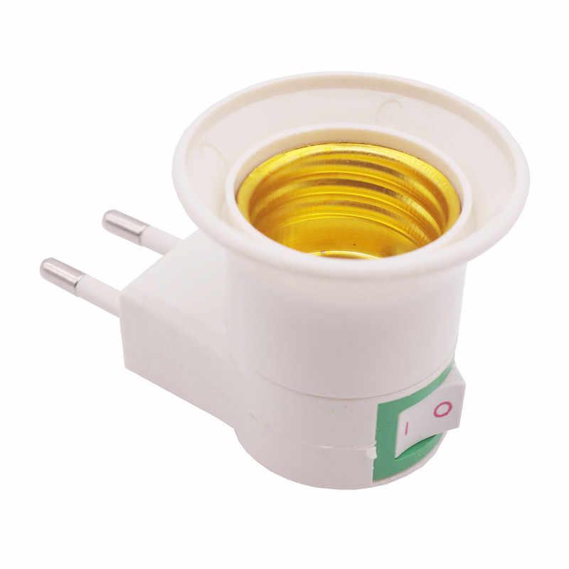 1 PS E27 Lampu Pemegang Base Cartridge Bulb Soket Uni Eropa/US Plug Soquete Pemegang Bohlam Lampu Pemegang 110- 240 V dengan On-Off Saklar Kontrol