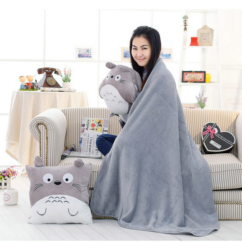 Cute Blanket Totoro Hand Warm Pillow Japan Anime Stuffed Plush Baby Soft Totoro Pillow Doll Toy Kid Valentine Gifts