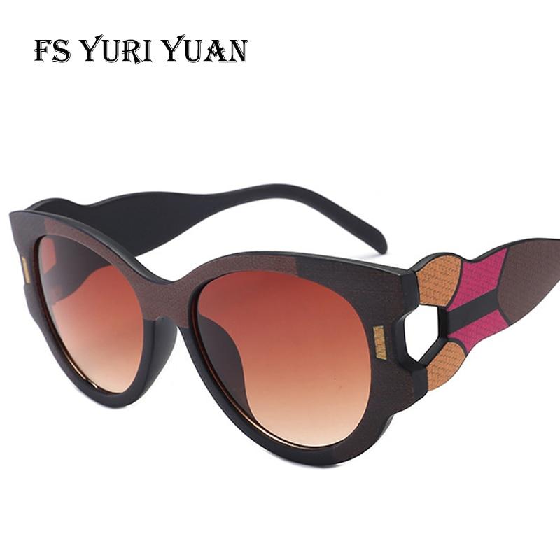 FS YURI YUAN Fashion Retro Cat Eye Sunglasses Irregular Frame Colorful Lens Women's Luxury Sunglasses Brand Designer UV400 6924
