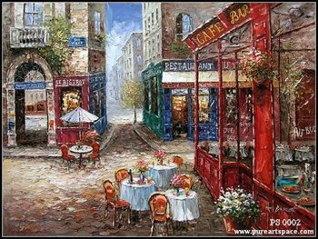 Summer Store front scenery,high-quality knife oil paintings on sale,professional painting skill