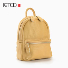 AETOO Новый натуральная кожа рюкзак женщины простой мода ретро колледж внимания кожа сумка девушки случайные дорожные сумки