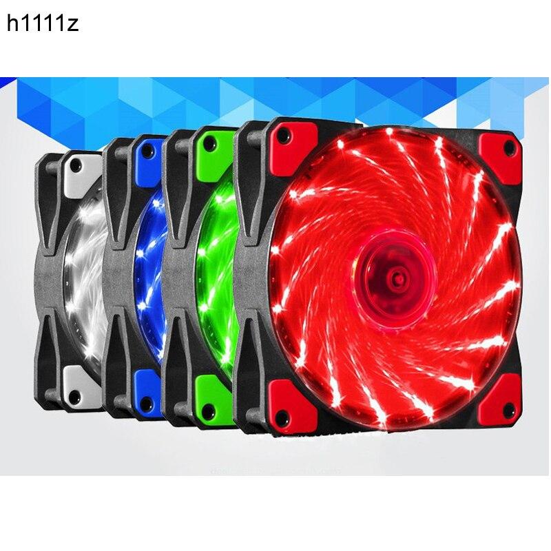 120mm PC Computer 16dB Ultra Silent 15 LEDs Case Fan Heatsink Cooler Cooling W/ Anti-Vibration Rubber,12CM Fan,12VDC 3P IDE 4pin