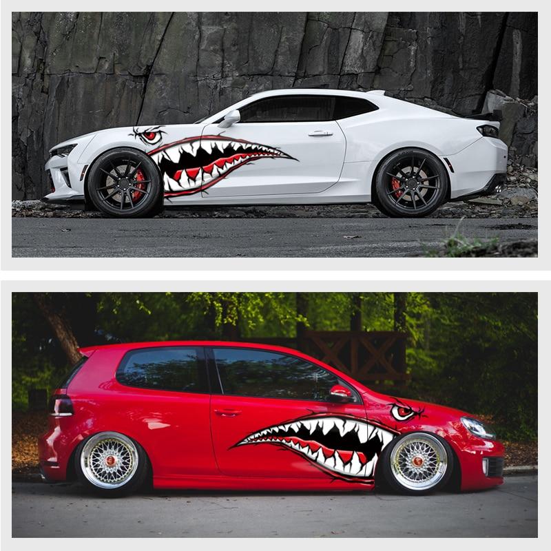 World Datong rouge noir requin bouche autocollant réfléchissant extérieur côté porte décalcomanie voiture vinyle Film Automobiles voiture style 1 paire