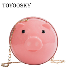 TOYOOSKY Fashion Women Jelly Bags Candy Color PVC Small Cute Pig Shape Crossbody Bag Designer Round Chain Shoulder Bag Girls