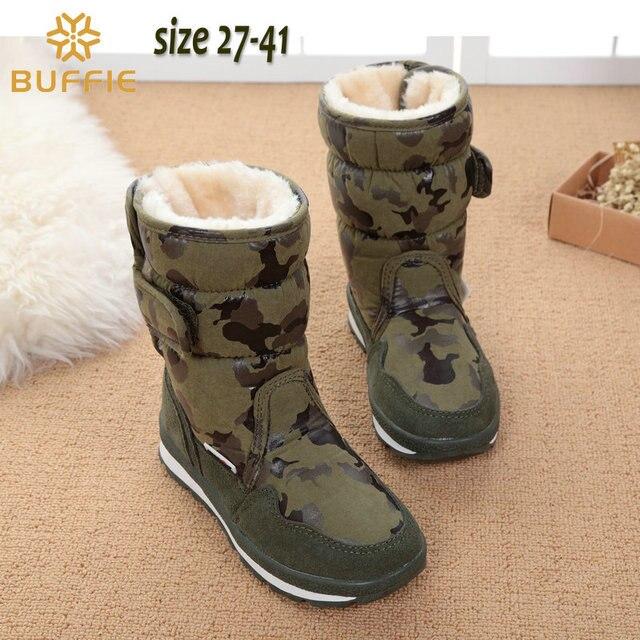 Детская обувь камуфляж мальчиков зимние сапоги девушки водонепроницаемый детские зимние сапоги теплый меховой подкладке моды популярный бренд снег загрузки