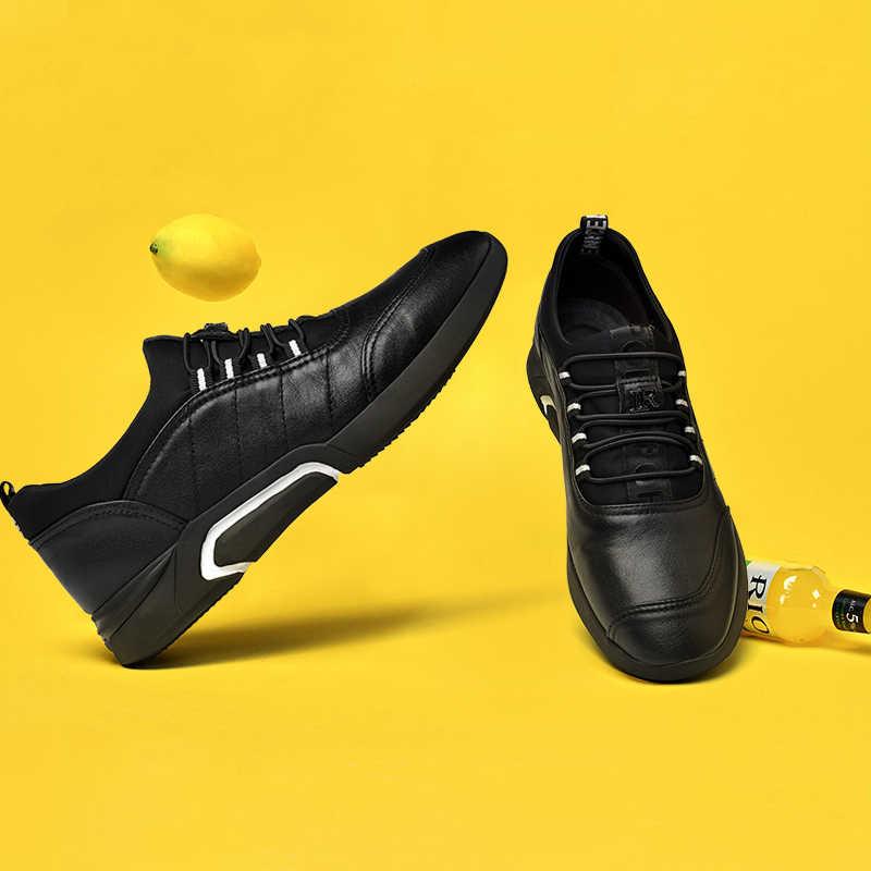Erkekler rahat ayakkabılar Moda Stil Marka Erkekler Siyah deri ayakkabı Sürüş Araba Sneakers Yüksek Kalite Eğlence Moccasins