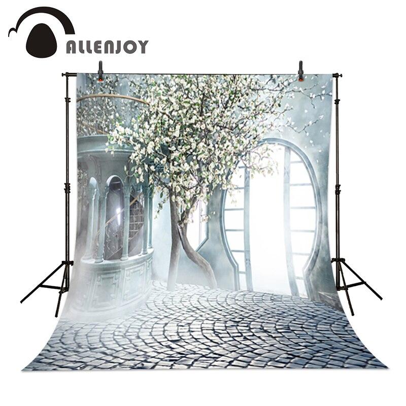 Allenjoy Romantic wedding background Tree Misty Garden Door photo studio backdrop vinyl fabric photography backgrounds