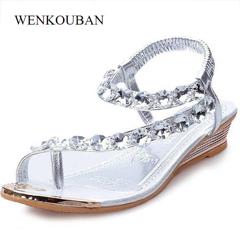 a2135962b ... Women Summer Shoes Wedge Sandals Crystal Wedding Sandal Female Casual Flip  Flops Ankle strap Rubber Sole