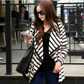 2016 New Arrival Women Casual Coats Stripe Spring Autumn Cotton Jackets Fashion Open Stitch Long Sleeve Cardigan Tops