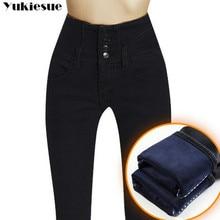 Cộng với kích thước Mới Quần Jean Dày Phụ Nữ Mùa Đông Eo Cao Jeans Ấm Dày Lông Cừu Đàn Hồi Jeans đối với Phụ Nữ Thời Trang Denim Quần