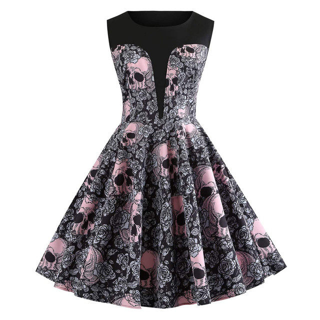 Audrey Hepburn skull printed floral rockabilly pin up dresses elegant women vintage sleeveless retro plus size vestidos