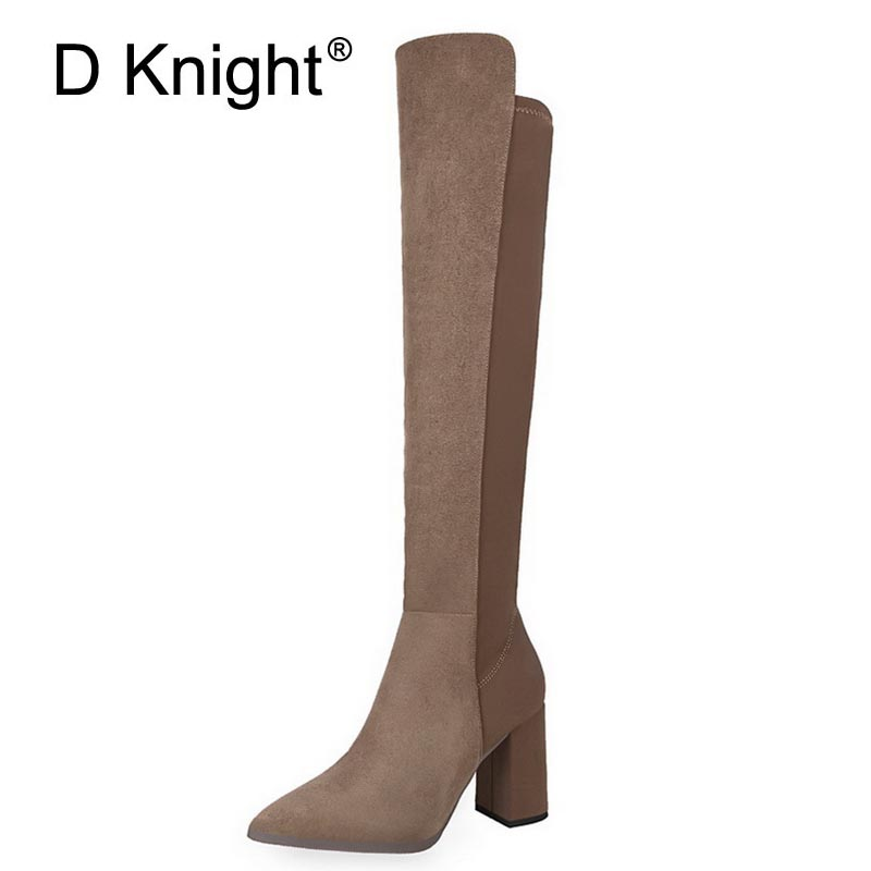 New Fashion Pointed Toe Thick High Heels Women Boots Ladies Casual Over The Knee Boots Vintage England Women Motorcycle Boots new england textiles in the nineteenth century – profits