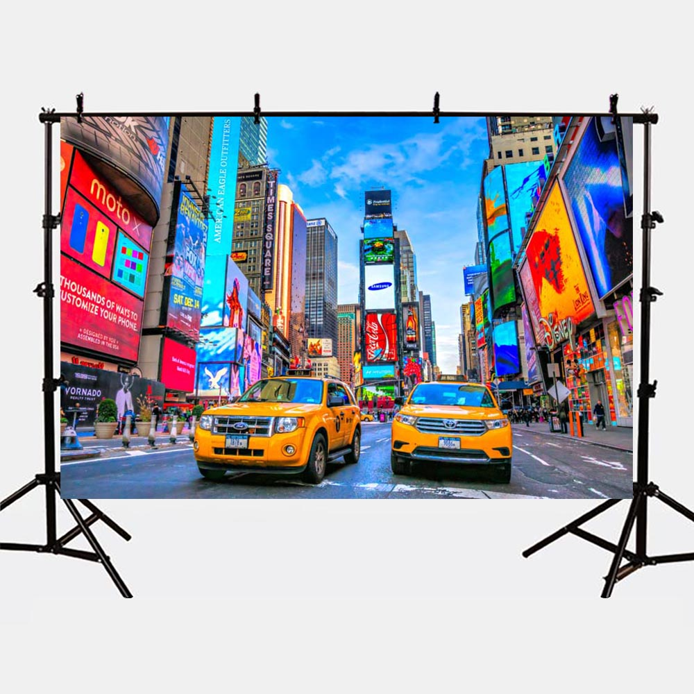 Mehofoto Modern City Street Background Buildings Photo Backdrop for Photography Studio Kids Theme Party Taxi Cars G-172