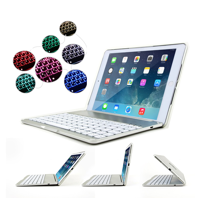 Bluetooth Keyboard Case for iPad 9.7 New 2017 2018 Flip Cover Laptop Design Tablet Case for iPad Air 7 Colors Backlit Keyboard tablet keyboard for ipad 2018 case cover bluetooth wireless backlit keyboard for ipad 2017 smart cover stand 9 7 inch 2018 case