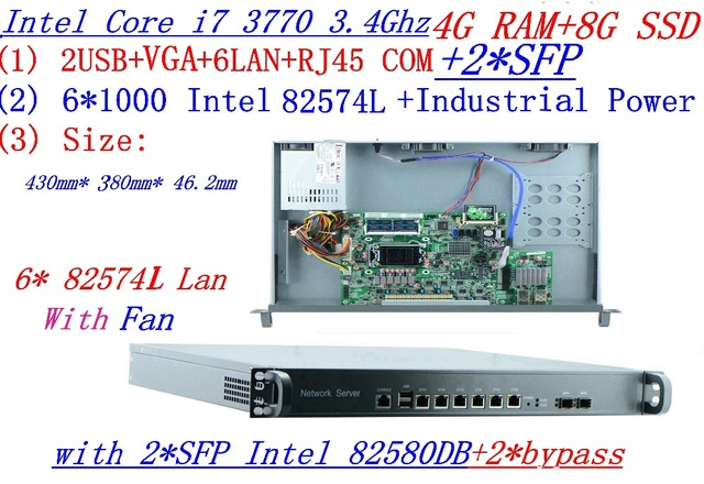 4G RAM 8G SSD 1U rack type server with 6*1000M 82574L Gigabit with 2*SFP 2*bypass InteL I7 3770 3.4Ghz support ROS RouterOS etc