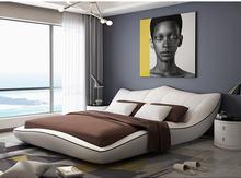 Europe and America Genuine leather bed frame Modern Soft Beds Home Bedroom Furniture cama muebles de dormitorio / camas quarto цены онлайн