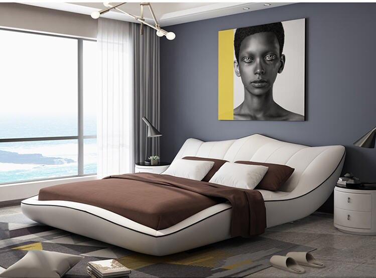 America:  Europe and America Genuine leather bed frame Modern Soft Beds Home Bedroom Furniture cama muebles de dormitorio / camas quarto - Martin's & Co