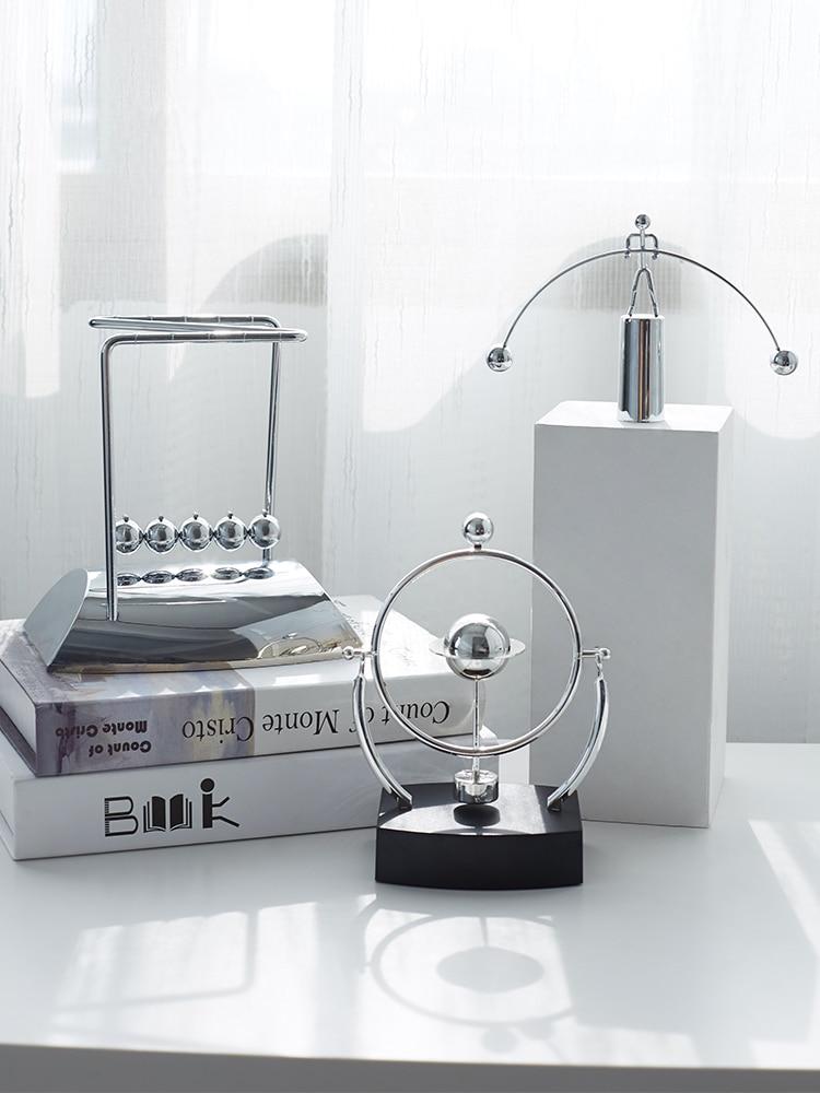 Newton Pendulum Balls Metal Pendulum Maglev Decorations Teaching Instrument Home Living Room Office Book Desk TV Cabinet Bar Par
