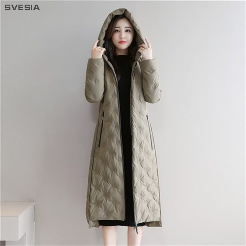 SVESIA Winter Women's   Down     Coats   2018 Trend Simple Hooded Elegant Women Duck   Down     Coat   Jackets Overcoats Jacket