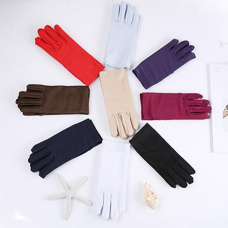 Cheap Mens Solid White Performance Gloves Short Waitor Gloves White Black Red Gray Beige Men Manner Ceremonial Gloves For Male