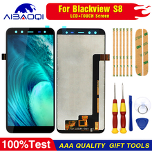 Blackview S8 도구 + 3M 접착제에 대 한 100% 원래 Blackview S8 LCD 디스플레이 + 터치 스크린 어셈블리