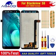 Blackview s8 display lcd + conjunto de tela touch, 100% original, ferramentas para blackview s8 + 3m adesivo