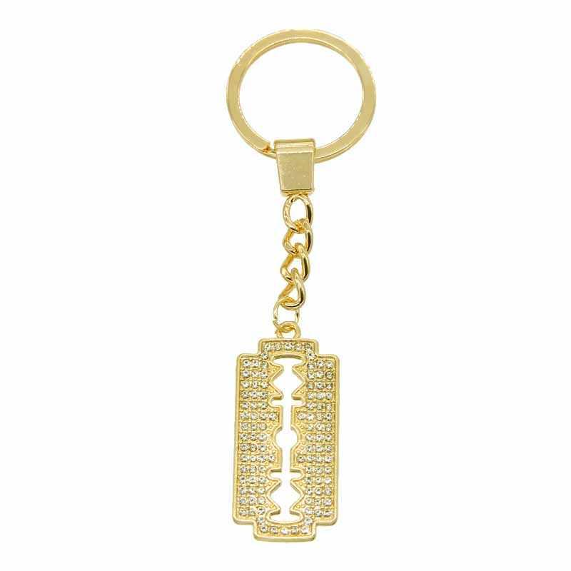 Thời trang đơn giản dao cạo mặt dây chuyền chìa khóa dây chuyền trang sức nam thoáng mát Nam Dao cạo nam hip hop vòng chìa khóa phụ kiện bán buôn